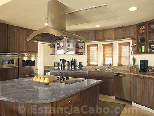 The Proffesional Gourmet Kitchen is fully equiped with top of the line stainless steel appliances.  The Kitchen also has marble countertops.