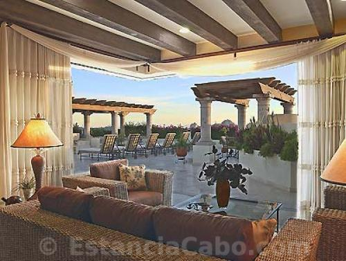 Covered living space on the Terrace of Penthhouse 3806 Villa La Estancia Cabo.