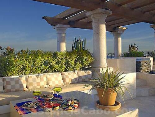 Outdoor seating on the Terrace of Penthouse 3806 of Villa La Estancia Cabo.