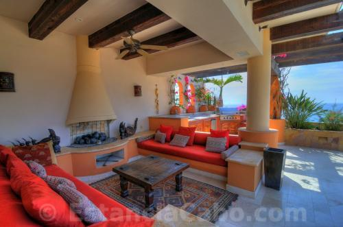 qVilla La Estancia Penthouse 1806 Fireplace Lounge