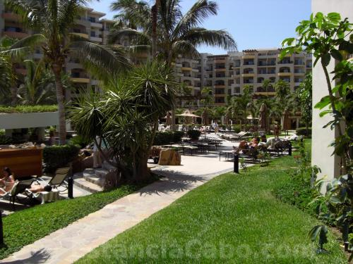 The view of the walk to the pool from unit #1101 of Villa La Estancia Cabo.  It is steps from the pool.